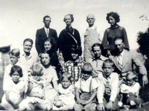 Top Row: Bill Shaw, Emily & Willie Shaw, Fern K. Shaw 2nd Row: Bill & Mary Thomas, Wilda Frost, Mary Shaw Thomas, Dave Thomas 3rd Row: Max & Elaine Frost, Darlene, Ada (on Elaine's lap), Myrtle, Stanley and Reed Frost